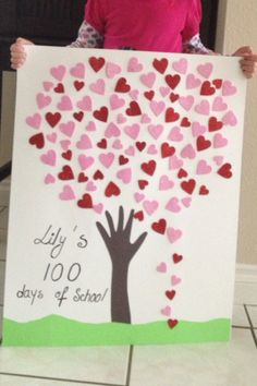 "each child cuts a heart, decorates it and adds it to the class tree. Celebrating ""100 days of school"" project"