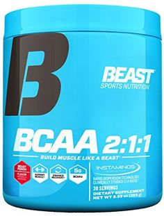 BCAA 2:1:1 provides 5 grams of Instaminos which are a rapidly dispersible form of the branched chain amino acids Leucine, Isoleucine and Valine delivered using the highly researched 2:1:1 ratio. Branched chain amino acids play a vital role in helping build new muscle, bolstering strength,... more details at http://supplements.occupationalhealthandsafetyprofessionals.com/supplements-2/amino-acid/bcaas/product-review-for-beast-sports-nutrition-bcaa-211-amino-acid-powder-with-in