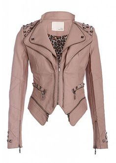 Cool Dusty Pink Studded Punk Style Vegan PU Faux Leather Pleather Slim Fit Moto Motorcycle Biker Jacket with zipper trim and cheetah print lining - Pretty Attitude