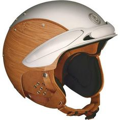 Bogner Bamboo Helmet. The sides of this helmet have actual wood grain texture, very unique construction it has a sort of vintage style perfect for scooters like Vespa by Piaggio.