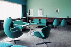 Hotel room designed by Arne Jacobsen