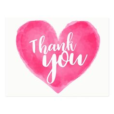 Shop Watercolor Pink Red Heart Thank You - Wedding Love Postcard created by merrybrides. Personalize it with photos & text or purchase as is! Thank You Images, Thank You Quotes, Thank You Messages, Thank You Babe, Thank You Greetings, Birthday Greetings, Happy Birthday, Birthday Freebies, Stickers Emojis