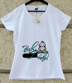 """Hand-painted t-shirt. Tricou pictat """"Baby Loading"""""""
