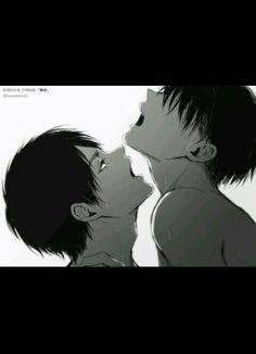 Un poco de #Ereri. Lo mejor que hay. Una encantadora imagen para las/los amantes del yaoi en #Shingeki_no_kyojin