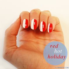 half red half white nail art // cute for the upcoming 3 day weekend #memorial day
