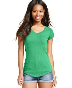 Derek Heart Juniors' Cap-Sleeve Tee - Juniors Tops - Macy's