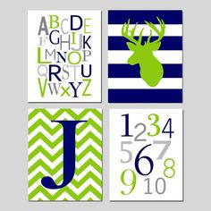 Navy Blue Lime Green Nursery Art - Chevron Initial, Striped Deer, Alphabet, Numbers - Set of Four 8x10 Prints - Choose Your Colors on Etsy, $65.00