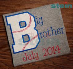 Ships in one week: Embroidered Baseball Big Brother Pregnancy Announcement Shirt Pregnancy Reveal Photos, Pregnancy Pics, Baby Number 2, Pregnancy Announcement Shirt, One Week, Baseball Shirts, Maternity Pictures, Maternity Photography, Future Baby