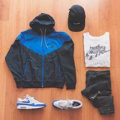 """. @nikesportswear windbreaker vintage blue/black . . @supremenewyork black camp cap . . @nike berlin white tee . . @asos grey slim denim . . @nike air max one """"royal blue"""" . . . _______________________________ #nike #supremenewyork #supreme #vimtage #nikeair #joggers #modernnotoriety #sneaker #sneakerhead #outfitgrid #sneakers #minimalmovement #berlin #ootw #style #denim #highsnobiety #hypebeast #streetstyle #streetwear #royal #yesnike #snobshots #urban #essentials #grid #street #outfit #sup…"""