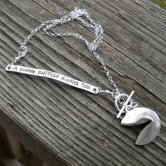 Custom Enscribed Fortune Cookie Necklace by birthdesigns on Etsy