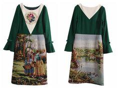 脸儿艺限量。拉斐尔前派油画 松绿羊毛呢拼接古董绣花片连衣裙。-淘宝网