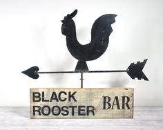 Your place to buy and sell all things handmade Black Rooster, Stone Temple Pilots, Sheet Metal, Vintage Signs, Painting On Wood, Tea Towels, A Table, Folk Art, Primitive