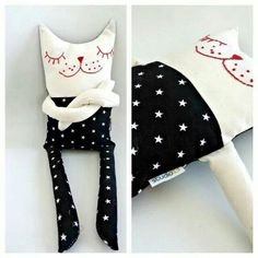 Nisem vam še povedala, da bo na Božičnem Art marke Cat Crafts, Sewing Crafts, Sewing Projects, Fabric Toys, Cat Doll, Sewing Dolls, Animal Pillows, Diy Toys, Sewing For Kids