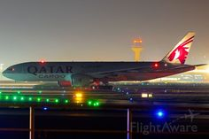 Boeing 777-200 (A7-BFH) lineup to rwy 18 Frankfurt