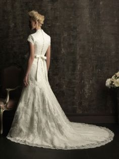 Allure Bridals M484 Modest Lace Wedding Dress... i love the buttons down the back :)