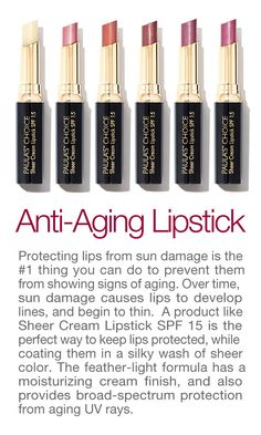 The best anti-aging lipstick + SPF 15! #sheercreamlipstick #paulaschoice #antiaging