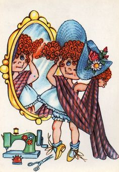 Vintage postcard 70s mirror mirror on the wall who's the fairest of them all