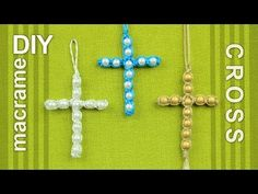 Beaded Macrame Cross / Easy DIY Tutorial - YouTube