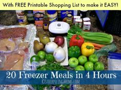 20 Freezer Meals in 4 Hours plan PLUS a printable shopping list to make it easy! Perfect way to be organized with recipes for summer.
