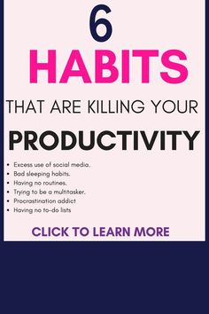 6 habits that are killing your productivity & how to break them, Diy Abschnitt, Habits Of Successful People, Successful Women, Career Development, Personal Development, Working Mom Tips, Productivity Apps, Learning To Let Go, Self Care Activities, How To Stop Procrastinating