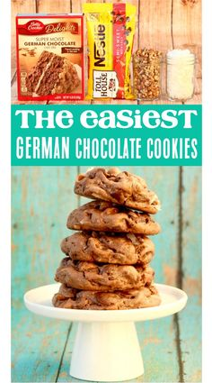 How to Make German Chocolate Cookies! This incredibly delicious and decadent dessert takes only a few basic ingredients. All around, it's perfect for weekends! German Chocolate Cake Cookies, Amazing Chocolate Cake Recipe, Chocolate Cake Mixes, Chocolate Recipes, Chocolate Chocolate, Cake Mix Cookie Recipes, Yummy Cookies, Cake Recipes, Dessert Recipes