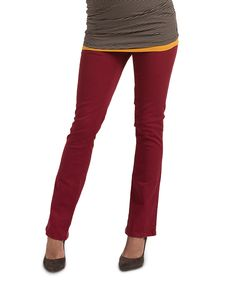 Loving this Red Over-Belly Maternity Straight-Leg Pants on #zulily! #zulilyfinds
