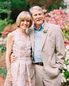 The best-dressed couple at this easygoing outdoor celebration in Athens, Georgia, was the bride and groom. But this pair also earned the distinction. The groom's dad donned a Jos. A. Bank suit, and his mother chose a floral dress in a complementary color.