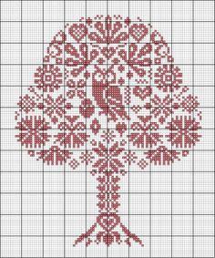 """Вот такое деревце вылилось нашим бабушке и дедушке. Было им подарено перед въездом в новую квартиру :-))) Моя первая """"проба пера"""" в вышивке меланжем :-)))"""