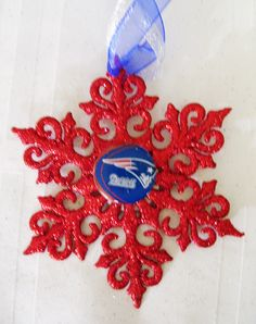 New England PATRIOTS Football Handcrafted Snowflake by ZZsTeamTime on Etsy