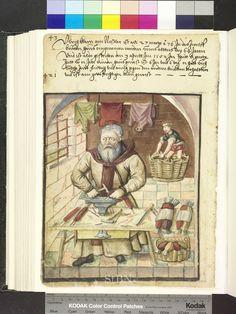 Amb 317b.2 ° folio 39 verso  I'm not sure what he's making, but it reminds me of wulst for some reason.
