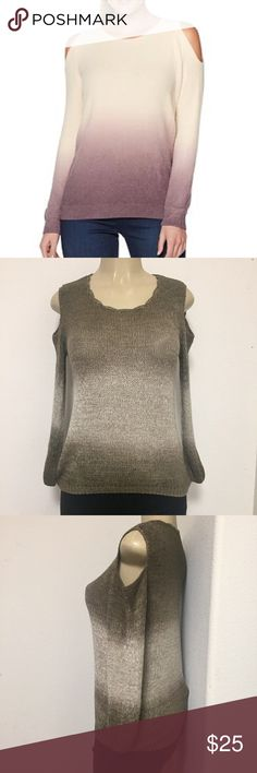 Ombré cold shoulder sleeves sweater Beautiful brown color sweater with cold shoulder sleeves  . First pic is to show looks only . Material is 80% poly 20% nylon . No size tag but it's One size fits all . Sweaters