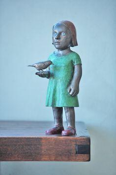 in Hand 2007 Bronze & Enamel paint 380 x 120 x 150 mm South African Artists, Art Dolls, Garden Sculpture, Disney Characters, Fictional Characters, Sculptures, Enamel Paint, Statue, Disney Princess