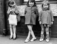 Three Young Girls on the Pavement - Manchester, 1965 Photographic Print by Shirley Baker Vintage Photographs, Vintage Photos, Shirley Baker, Does Your Mother Know, Shoes Too Big, My Childhood Memories, Childhood Friends, White Image, Baby Kind