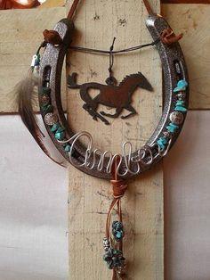 Decorated Horseshoe Personalized Gift by Whoagirldesigns on Etsy