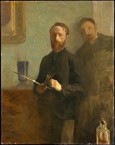 Édouard Vuillard (French, 1868–1940). Self-Portrait with Waroquy, 1889. The Metropolitan Museum of Art, New York. Gift of Alex M. Lewyt, 1955 (55.173) | In his sober, high-collared garment, the pensive twenty-three year old Vuillard might be taken for a civil servant or a clergyman. Only the palette and paintbrushes in his right hand identify him as a painter.