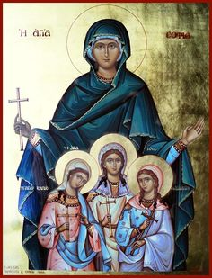 Icon of St Sophia with her daughters St Faith, St Hope, and St Love Religious Paintings, Religious Art, Greek Icons, Byzantine Icons, Archangel Michael, Art Icon, Orthodox Icons, Gothic Art, Roman Catholic