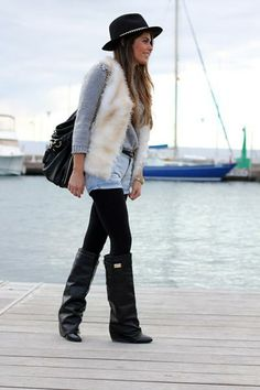 Leather Wedge Knee Boots $174.99