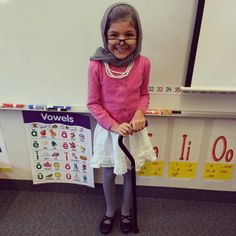 100th day of school - 100 year old costume idea. Baby powder in hair, scarf on head, glasses, cardigan, pearl necklaces, skirt, tights, dress shoes and cane.