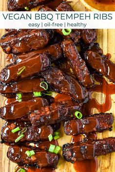 BBQ Tempeh Ribs are smoky, sweet, savory, and so easy to make. Smother these vegan ribs in my homemade barbecue sauce then bake or grill for one amazing backyard bbq! WFPB and oil-free! Vegan Bbq Recipes, Delicious Vegan Recipes, Vegan Dinners, Grilling Recipes, Whole Food Recipes, Grilling Ideas, Healthy Recipes, Vegan Ribs, Vegan Tomato Soup