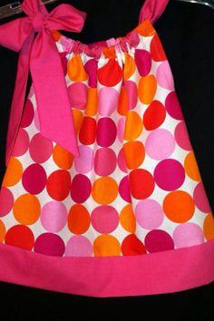 Bright Pink and Orange Disco Dot Pillow Case Dress 1 2 3 4 5 6 7 8 michael miller fabric. $20.00, via Etsy. Little Girl Dresses, Little Girls, Girls Dresses, Michael Miller Fabric, Bright Pink, Dots, Orange, Pillows, Sewing