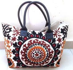 Beautiful multi color Hand embroidered Suzani Bag by ROYALEJAYPORE, $59.00
