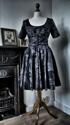 Unique Gothic Tea Dress- 'After Dark' Fabric By Alexander Henry - Handmade - Steampunk- SALE on Etsy, $110.75