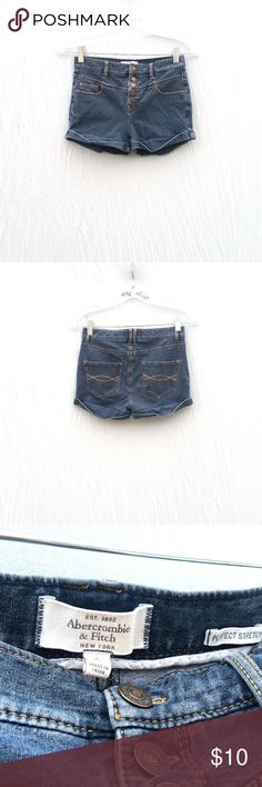 """AF Medium Wash High Waist Shorts 0 Gently worn medium wash high waist denim shorts. Has a lot of stretch and 5 pockets. Cuffs on the hem. No flaws or stains.  Tag Size : 0  Fits 24-26"""" waist Waist: 12.5-13"""" Fits 25 inch waist best! Overall length: 10"""" Inseam: 2""""  #boho #festival #chic #highwaisted #highwaistedshorts #summer #print #spring #vacation #daytime #summer #hipster #concert #basic #essential #denim #stretch #tothedunes Abercrombie & Fitch Shorts Jean Shorts"""