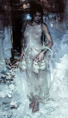 """Morning in Light Silk"" - Jeremy Mann (b. 1979), oil on panel, 2016 {figurative impressionist art female beautiful female standing woman painting #loveart} redrabbit7.com"