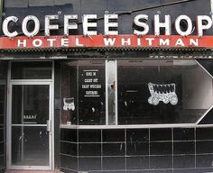 Hotel Whitman coffee shop, with covered wagon in window, Pocatello, ID. Photo by Dave van Hulsteyn Pocatello Idaho, Commercial Signs, Covered Wagon, Main Street, Homeland, Coffee Shop, Places To Visit, Window, Van