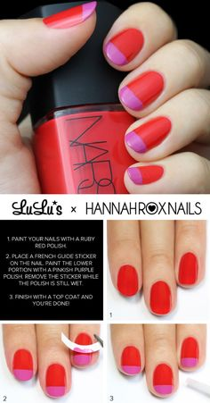Ruby Red and Pink French Nail Tutorial - 12 Chic Nail Art Designs for Fall 2015   GleamItUp