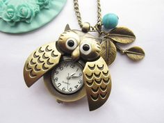 pocket watchantique bronze owl pocket watch and by laceinspring, $5.50