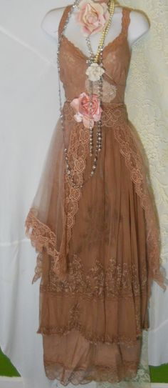 Tea stained dress embroidery tulle    tiered cotton  bohemian rose medium large  by vintage opulence on Etsy. $160.00, via Etsy.