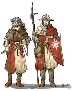 Fraternité Enfant lumières, fighters in medival style. Crossbow and pikeman