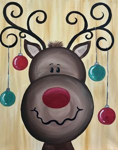 christmas paintings View Paint and Sip Artwork - Pinots Palette Easy Canvas Painting, Painting For Kids, Diy Painting, Art For Kids, Christmas Rock, Christmas Signs, Reindeer Christmas, Christmas Cookies, Christmas Paintings On Canvas